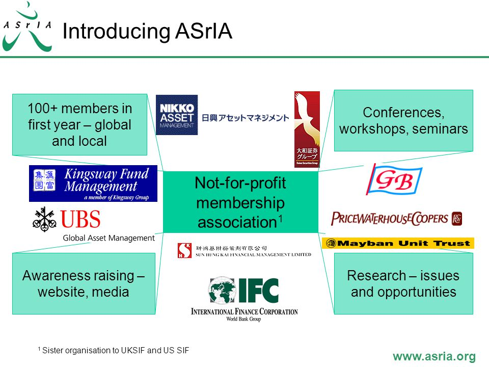 www.asria.org Introducing ASrIA Not-for-profit membership association 1 100+ members in first year – global and local Research – issues and opportunities Awareness raising – website, media Conferences, workshops, seminars 1 Sister organisation to UKSIF and US SIF