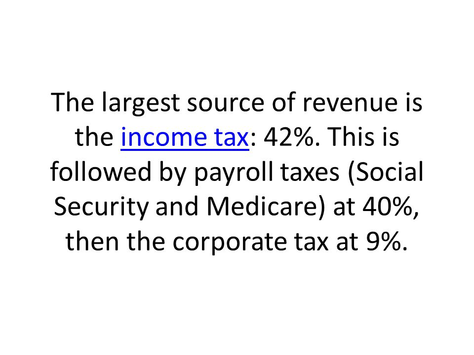 The largest source of revenue is the income tax: 42%.