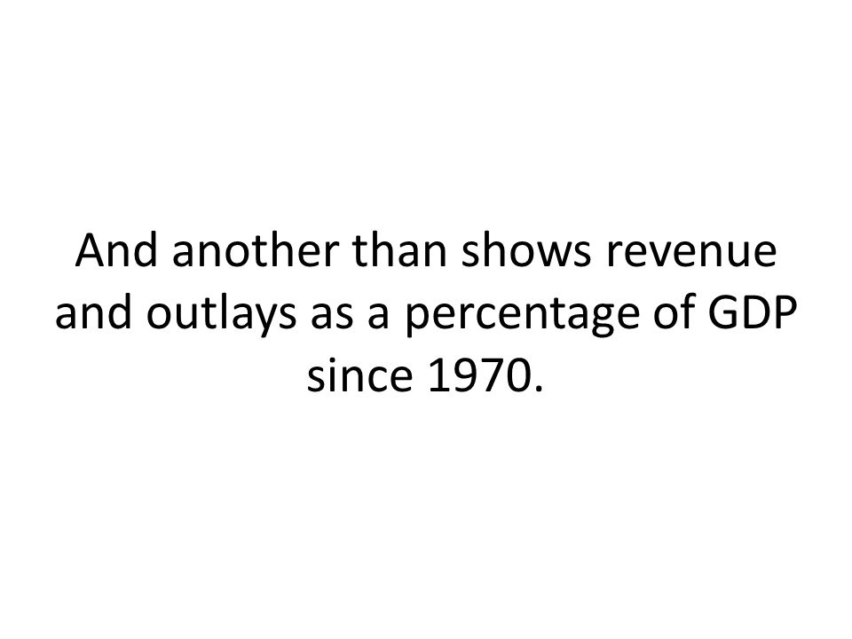 And another than shows revenue and outlays as a percentage of GDP since 1970.