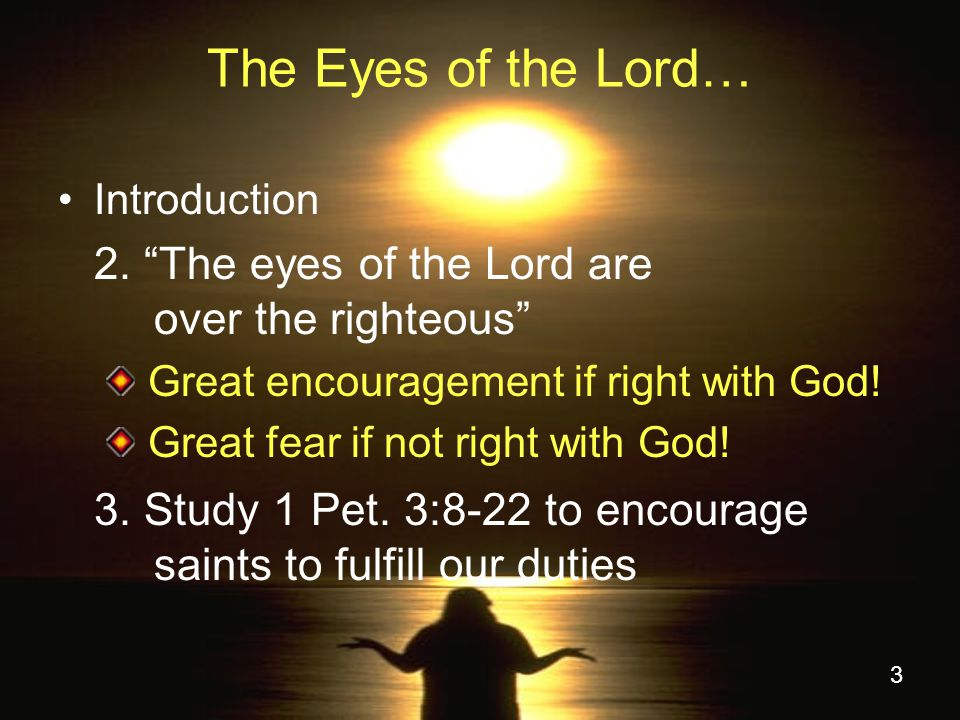 3 The Eyes of the Lord… Introduction 2.
