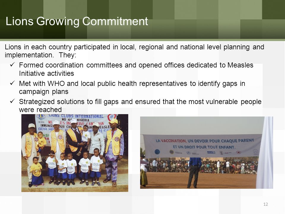 Lions Growing Commitment Lions in each country participated in local, regional and national level planning and implementation.