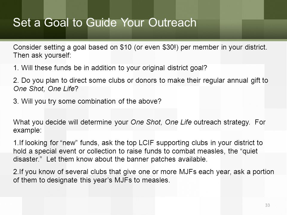 Set a Goal to Guide Your Outreach 33 Consider setting a goal based on $10 (or even $30!) per member in your district.