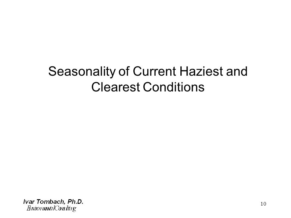 10 Seasonality of Current Haziest and Clearest Conditions