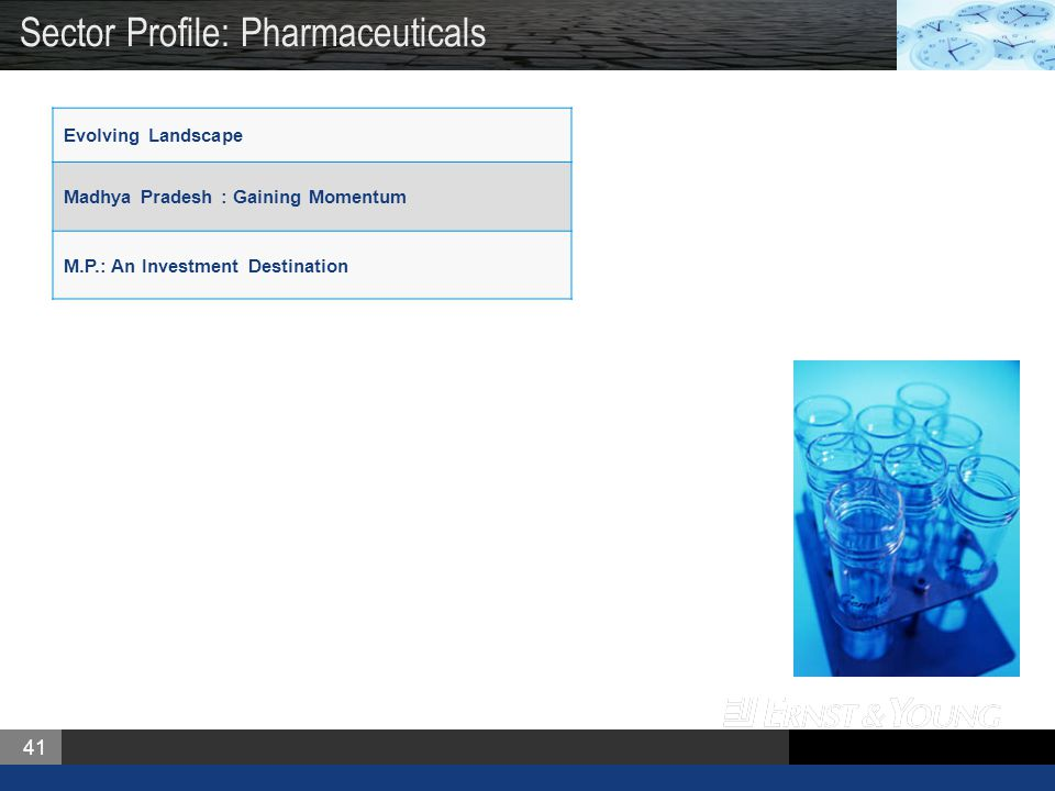 41 Evolving Landscape Madhya Pradesh : Gaining Momentum M.P.: An Investment Destination Sector Profile: Pharmaceuticals