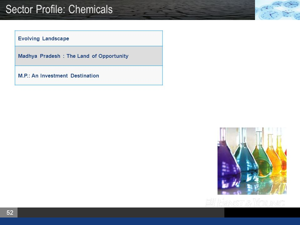 52 Evolving Landscape Madhya Pradesh : The Land of Opportunity M.P.: An Investment Destination Sector Profile: Chemicals