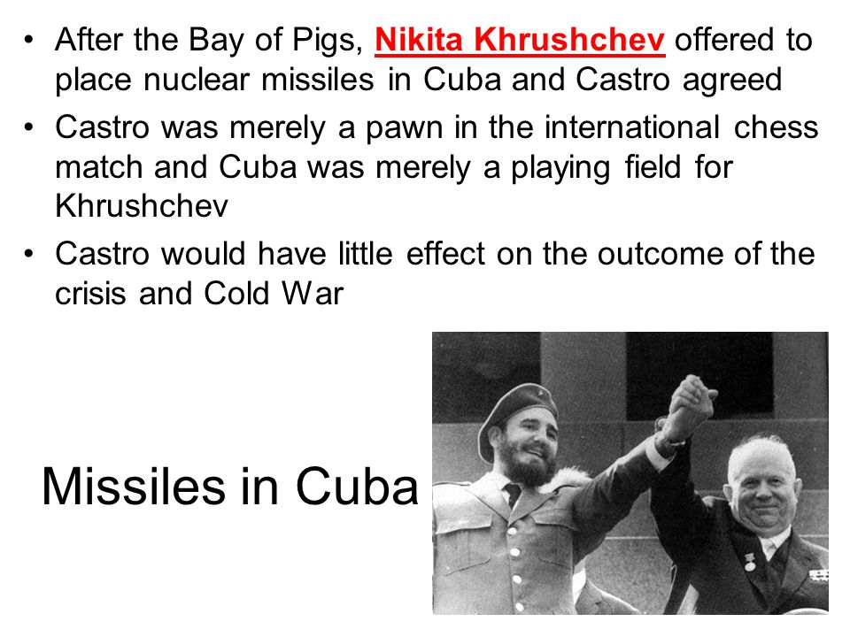 Cuban Missile Crisis In October 1962, the World came very close to nuclear war The Soviets installed nuclear missiles in Cuba, just 90 miles off the coast of the U.S.