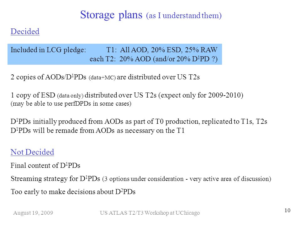 US ATLAS T2/T3 Workshop at UChicagoAugust 19, 2009 10 Storage plans (as I understand them) 2 copies of AODs/D 1 PDs (data+MC) are distributed over US T2s 1 copy of ESD (data only) distributed over US T2s (expect only for 2009-2010) (may be able to use perfDPDs in some cases) Included in LCG pledge: T1: All AOD, 20% ESD, 25% RAW each T2: 20% AOD (and/or 20% D 1 PD ?) Decided D 1 PDs initially produced from AODs as part of T0 production, replicated to T1s, T2s D 1 PDs will be remade from AODs as necessary on the T1 Not Decided Too early to make decisions about D 2 PDs Streaming strategy for D 1 PDs (3 options under consideration - very active area of discussion) Final content of D 1 PDs