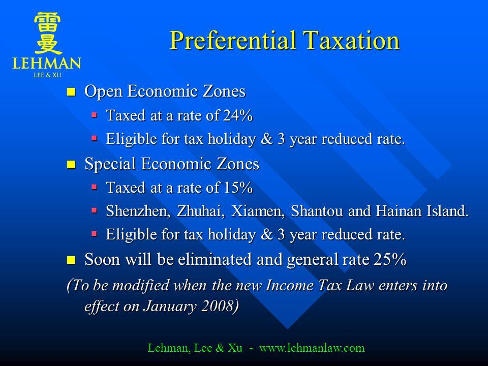 Lehman, Lee & Xu - www.lehmanlaw.com New Income Tax To be effective on Jan.