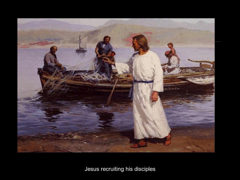 Jesus recruiting his disciples