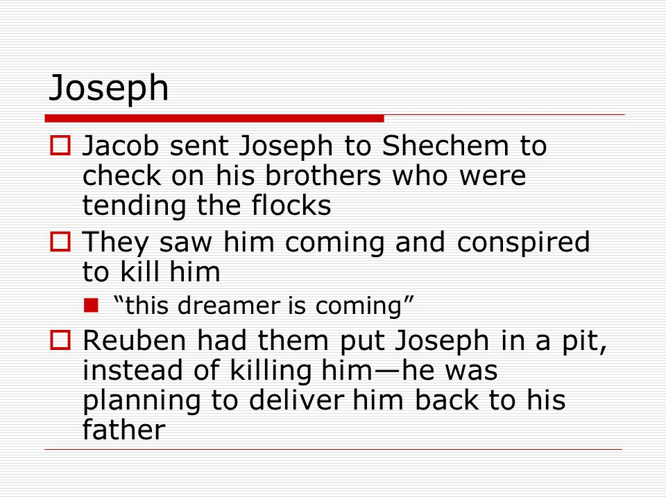 Joseph  While they were eating a band of Ishmaelite traders from Midian came by  At Judah's suggestion they sold Joseph to them for 20 shekels of silver  Even though he was their brother, their flesh—this was more profitable $$  The Ishmaelites took Joseph to Egypt