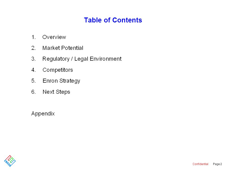 Confidential Page 2 Table of Contents