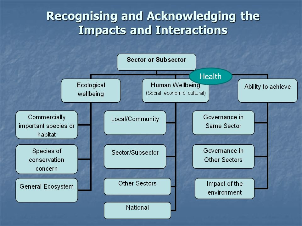 Recognising and Acknowledging the Impacts and Interactions Health
