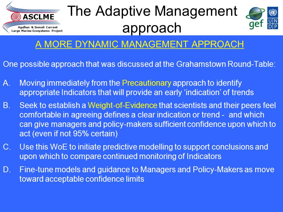 ASCLME Agulhas & Somali Current Large Marine Ecosystems Project The Adaptive Management approach A MORE DYNAMIC MANAGEMENT APPROACH One possible appro