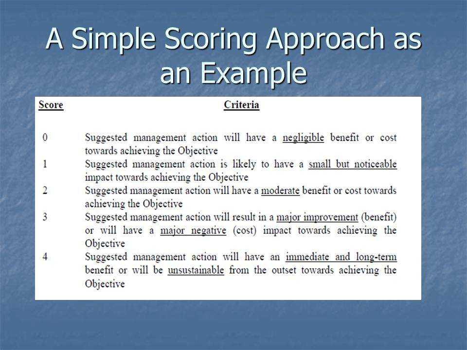 A Simple Scoring Approach as an Example