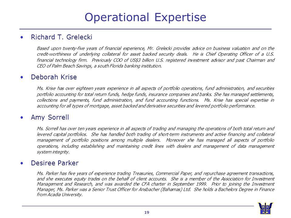 19 Operational Expertise Richard T.