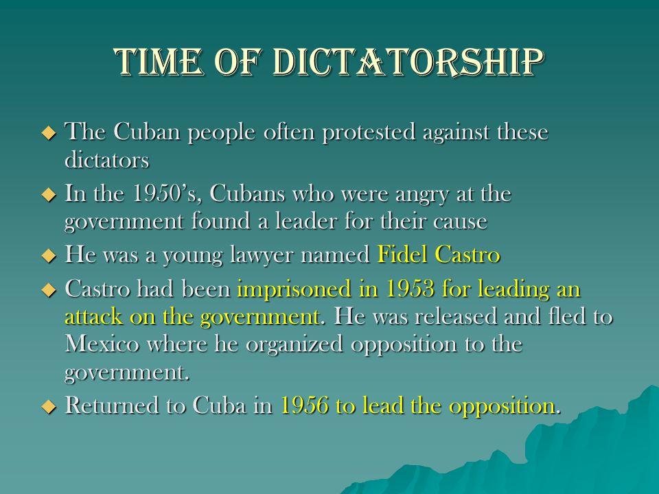 Castro as Dictator  Despite promising to not become a dictator, that is exactly what he became  He Redistributed land so that no one owned more than a certain amount  He Imprisoned people that spoke out against him  He controlled all radio, newspaper and television stations.