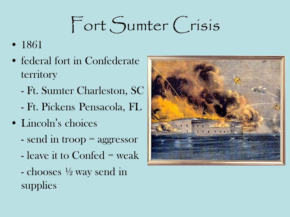 Fort Sumter Crisis 1861 federal fort in Confederate territory - Ft.