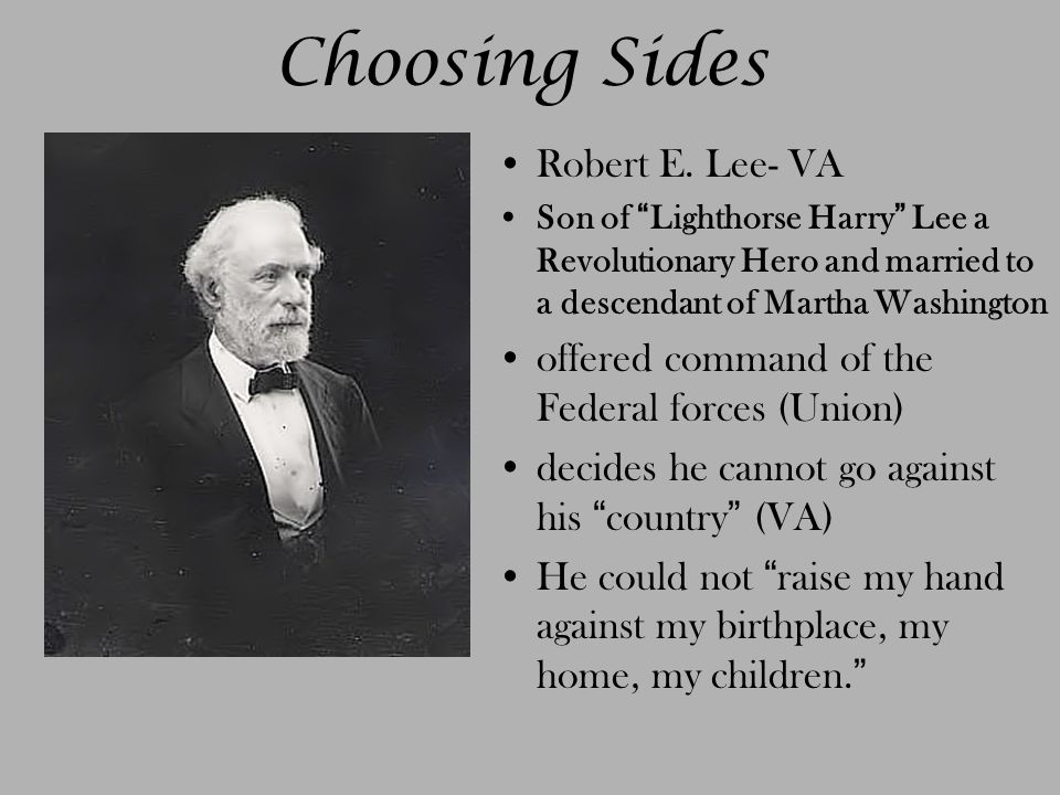 Choosing Sides Robert E.