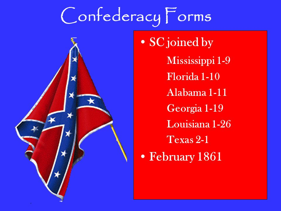 Confederacy Forms SC joined by Mississippi 1-9 Florida 1-10 Alabama 1-11 Georgia 1-19 Louisiana 1-26 Texas 2-1 February 1861