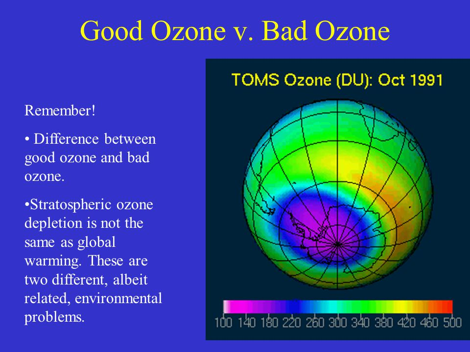 Remember.Difference between good ozone and bad ozone.