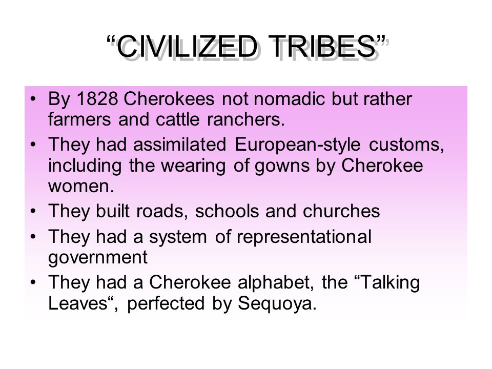 CIVILIZED TRIBES By 1828 Cherokees not nomadic but rather farmers and cattle ranchers.