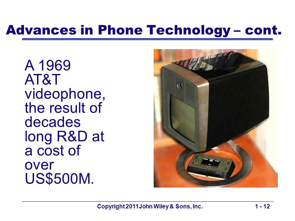 Advances in Phone Technology – cont. Copyright 2011John Wiley & Sons, Inc.1 - 12 A 1969 AT&T videophone, the result of decades long R&D at a cost of o