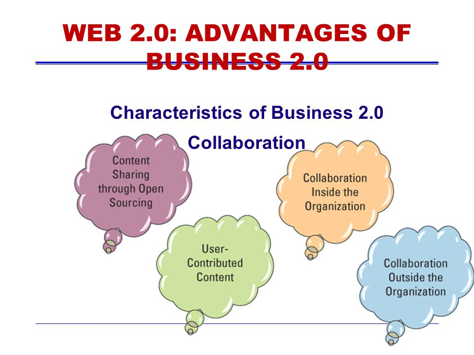 WEB 2.0: ADVANTAGES OF BUSINESS 2.0 Characteristics of Business 2.0 Collaboration