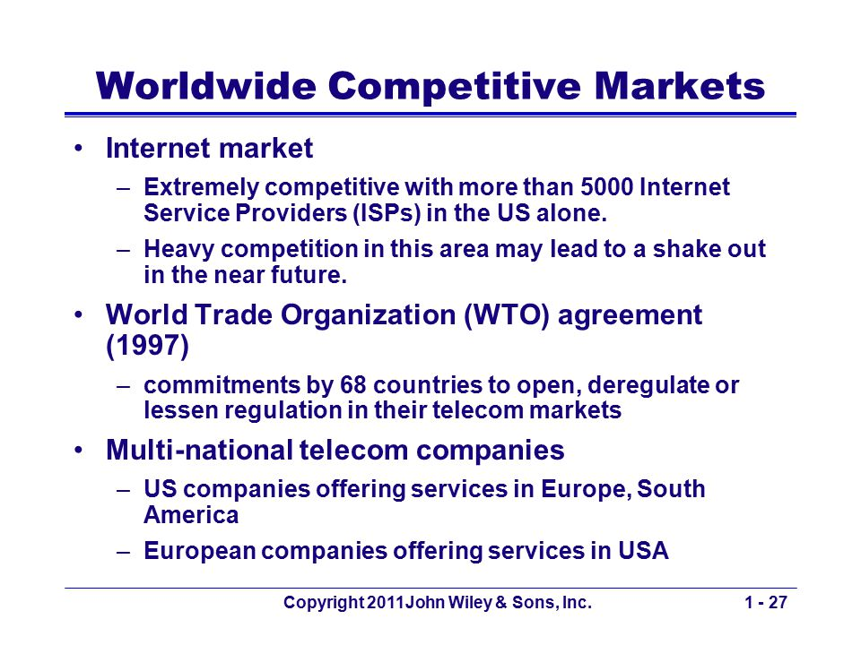 Copyright 2011John Wiley & Sons, Inc.1 - 27 Worldwide Competitive Markets Internet market –Extremely competitive with more than 5000 Internet Service