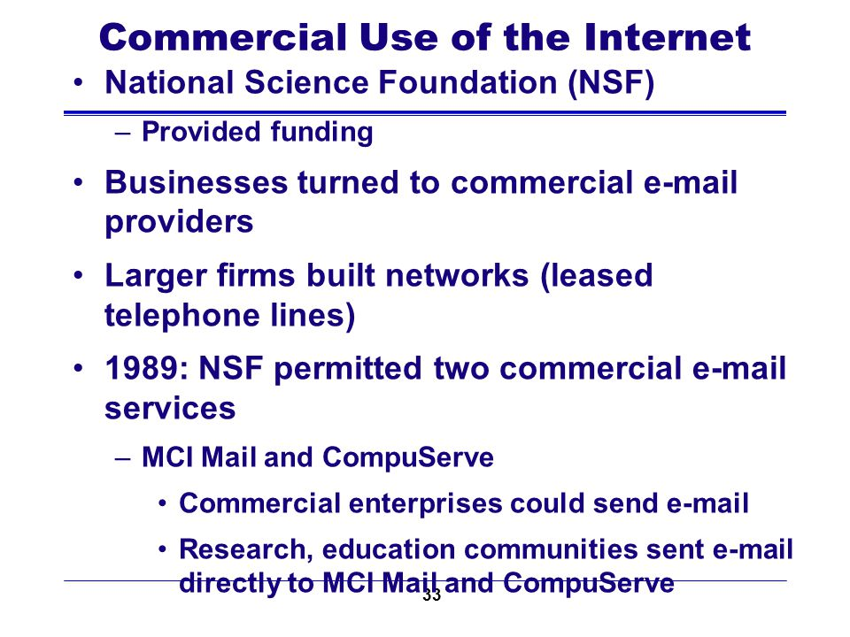 33 Commercial Use of the Internet National Science Foundation (NSF) –Provided funding Businesses turned to commercial e-mail providers Larger firms bu