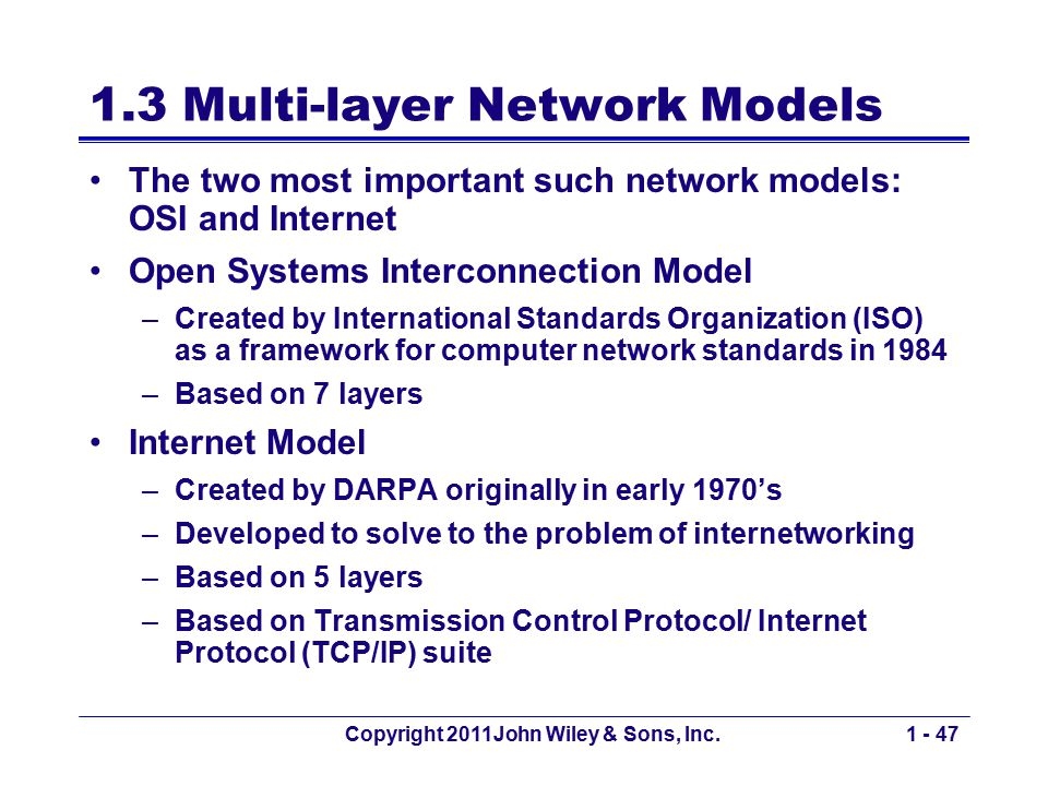 Copyright 2011John Wiley & Sons, Inc.1 - 47 1.3 Multi-layer Network Models The two most important such network models: OSI and Internet Open Systems I