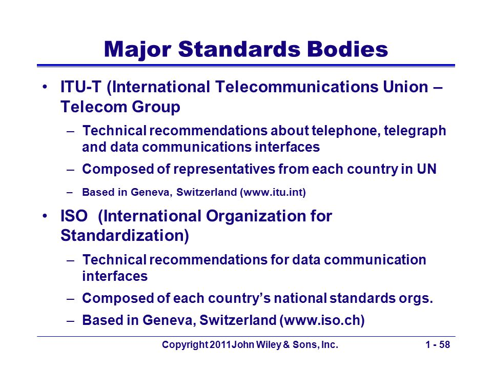 Copyright 2011John Wiley & Sons, Inc.1 - 58 Major Standards Bodies ITU-T (International Telecommunications Union – Telecom Group –Technical recommenda
