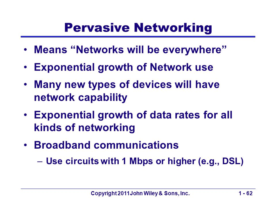 "Copyright 2011John Wiley & Sons, Inc.1 - 62 Pervasive Networking Means ""Networks will be everywhere"" Exponential growth of Network use Many new types"