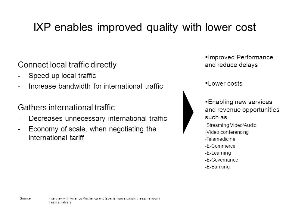 IXP enables improved quality with lower cost Connect local traffic directly -Speed up local traffic -Increase bandwidth for international traffic Gathers international traffic -Decreases unnecessary international traffic -Economy of scale, when negotiating the international tariff  Improved Performance and reduce delays  Lower costs  Enabling new services and revenue opportunities such as -Streaming Video/Audio -Video-conferencing -Telemedicine -E-Commerce -E-Learning -E-Governance -E-Banking Source: Interview with Americo Muchanga and (spanish guy sitting in the same room) Team amalysis