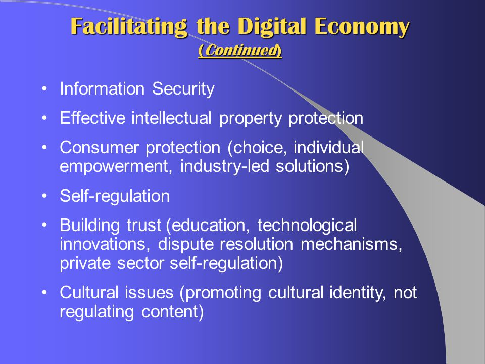 Facilitating the Digital Economy (Continued) Information Security Effective intellectual property protection Consumer protection (choice, individual empowerment, industry-led solutions) Self-regulation Building trust (education, technological innovations, dispute resolution mechanisms, private sector self-regulation) Cultural issues (promoting cultural identity, not regulating content)