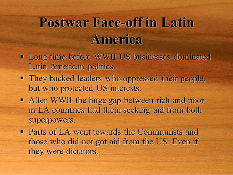 Postwar Face-off in Latin America  In 1970 Salvador Allende, (a marxist) was freely elected the president of Chile.