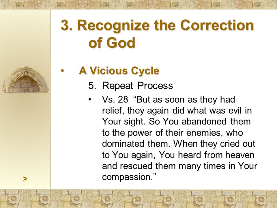 > 3. Recognize the Correction of God A Vicious CycleA Vicious Cycle 5.Repeat Process Vs.