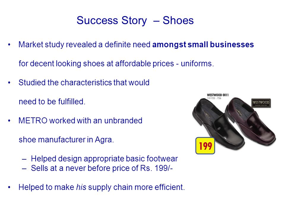 Market study revealed a definite need amongst small businesses for decent looking shoes at affordable prices - uniforms.
