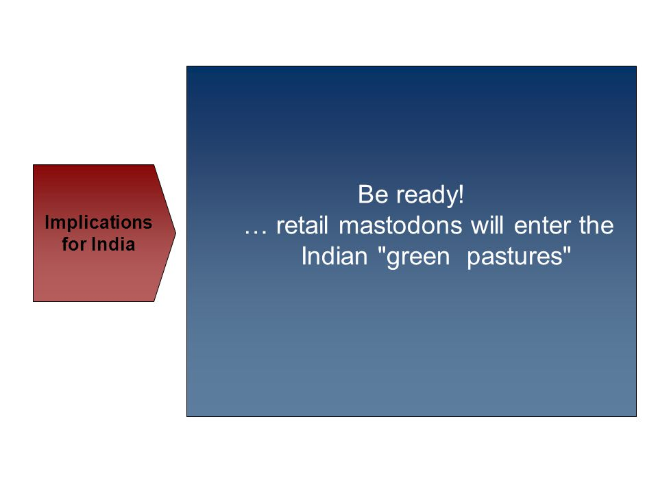 Be ready! … retail mastodons will enter the Indian green pastures Implications for India
