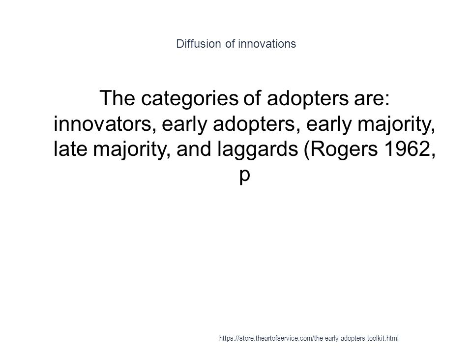 Diffusion of innovations 1 The categories of adopters are: innovators, early adopters, early majority, late majority, and laggards (Rogers 1962, p https://store.theartofservice.com/the-early-adopters-toolkit.html