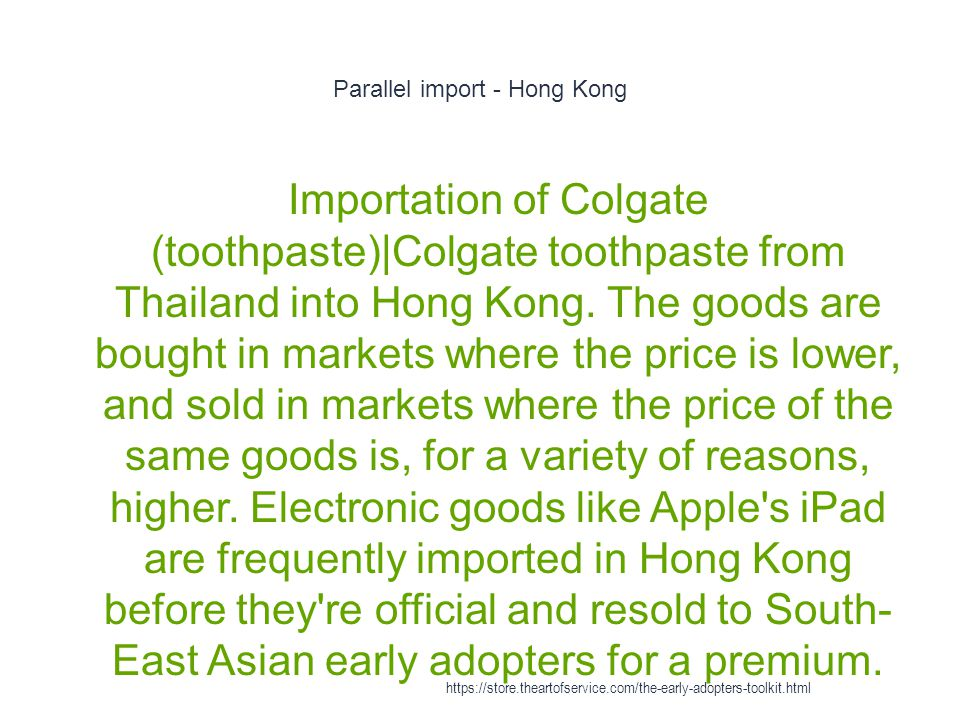 Parallel import - Hong Kong 1 Importation of Colgate (toothpaste)|Colgate toothpaste from Thailand into Hong Kong.