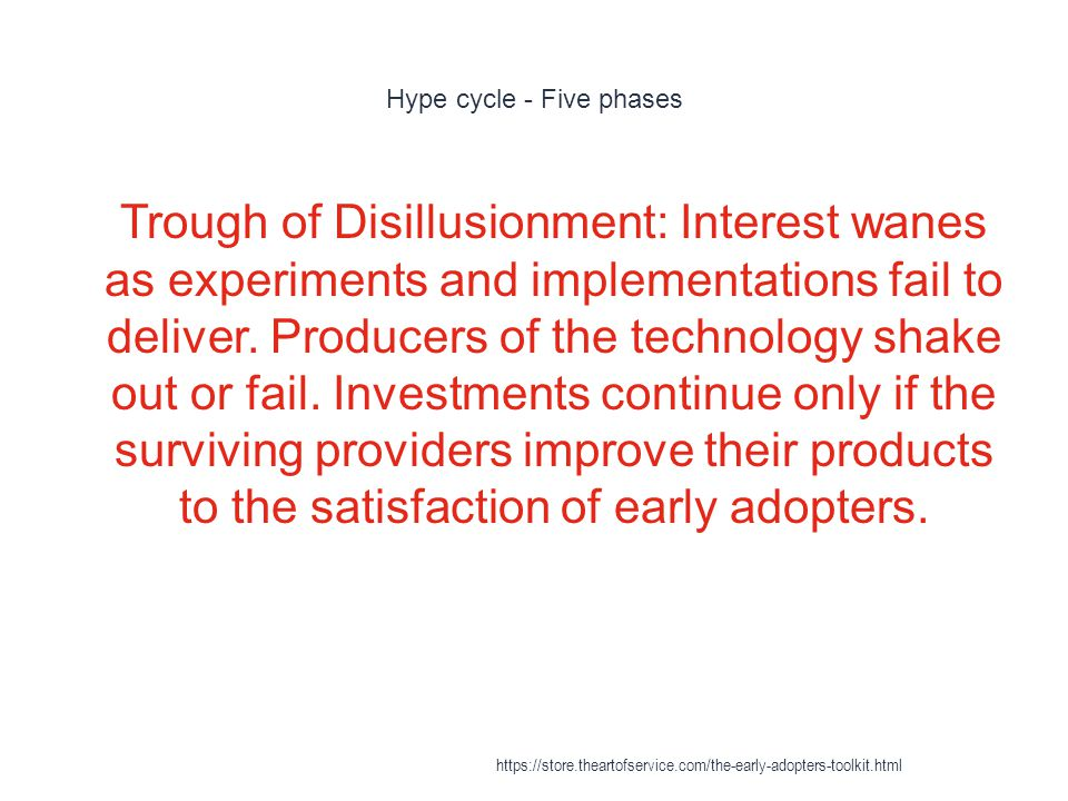 Hype cycle - Five phases 1 Trough of Disillusionment: Interest wanes as experiments and implementations fail to deliver.