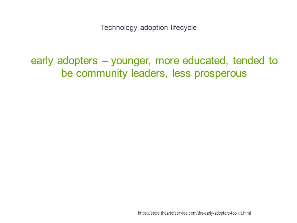 Technology adoption lifecycle 1 early adopters – younger, more educated, tended to be community leaders, less prosperous https://store.theartofservice.com/the-early-adopters-toolkit.html
