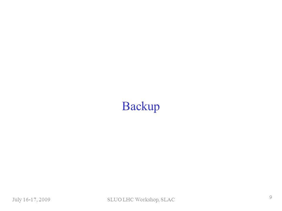 SLUO LHC Workshop, SLACJuly 16-17, 2009 9 Backup