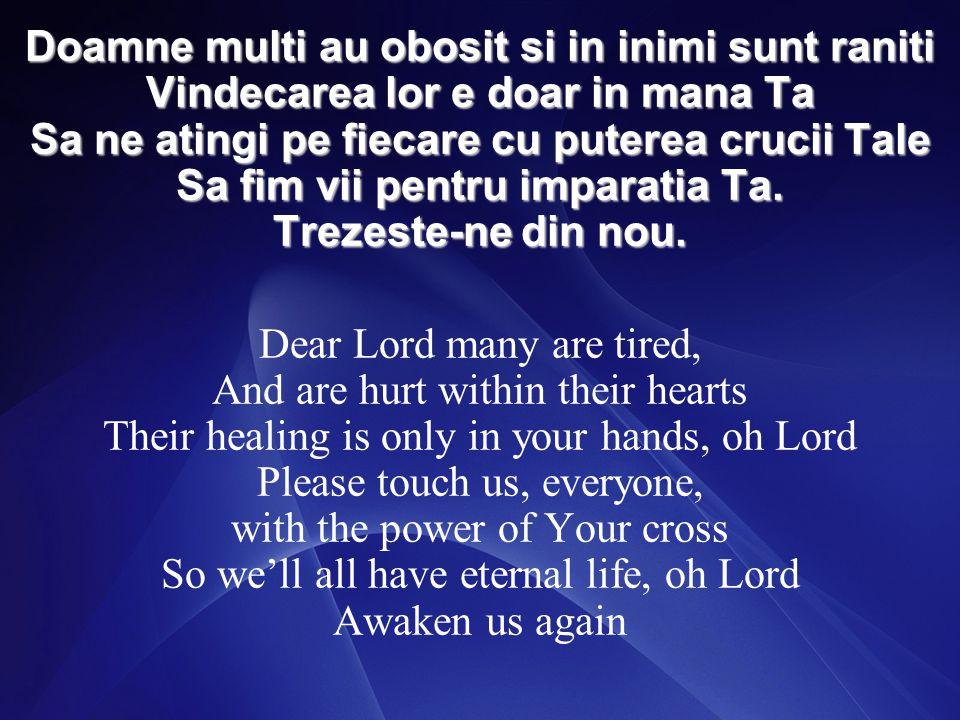 Doamne multi au obosit si in inimi sunt raniti Vindecarea lor e doar in mana Ta Sa ne atingi pe fiecare cu puterea crucii Tale Sa fim vii pentru imparatia Ta.
