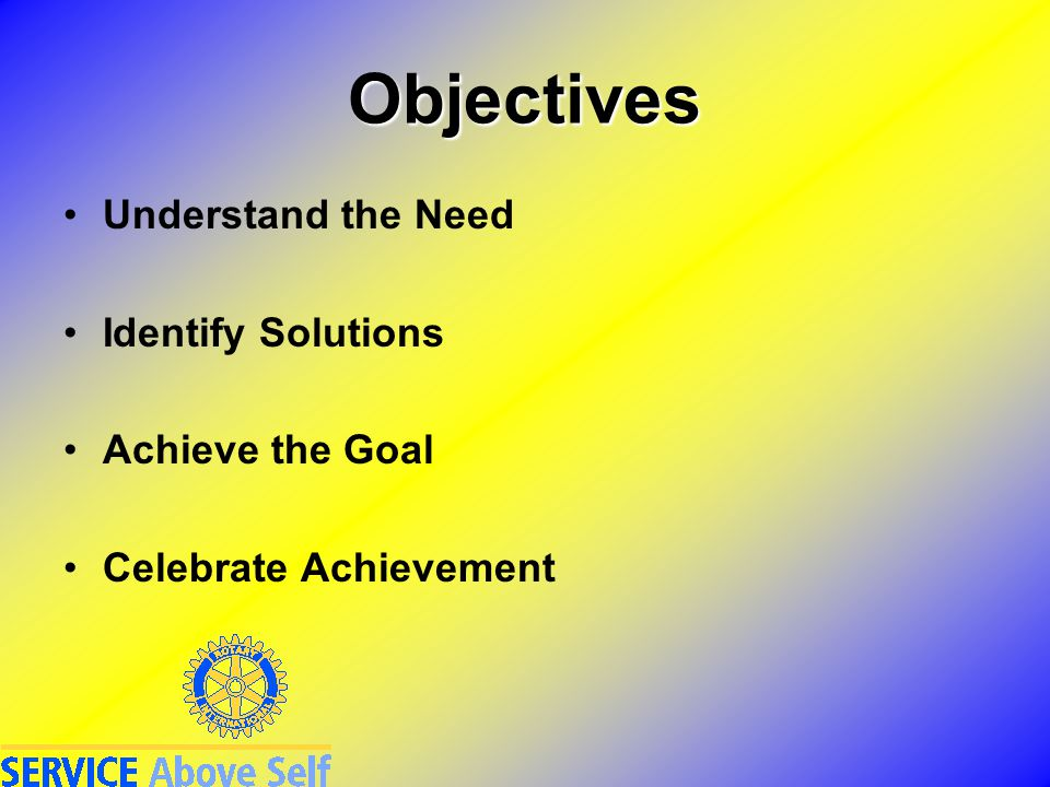Objectives Understand the Need Identify Solutions Achieve the Goal Celebrate Achievement