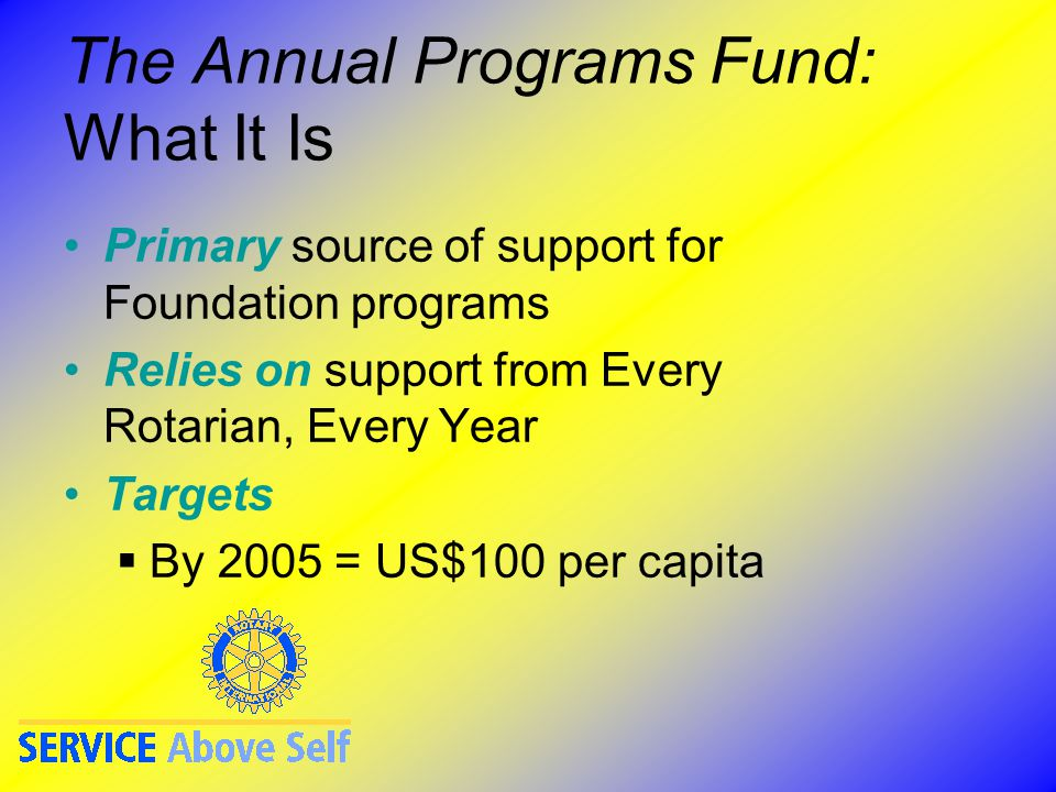 The Annual Programs Fund: What It Is Primary source of support for Foundation programs Relies on support from Every Rotarian, Every Year Targets  By 2005 = US$100 per capita