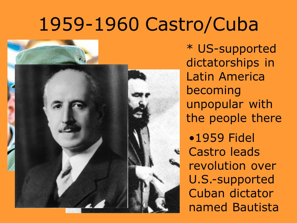 1959-1960 Castro/Cuba * US-supported dictatorships in Latin America becoming unpopular with the people there 1959 Fidel Castro leads revolution over U
