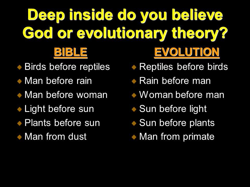 Deep inside do you believe God or evolutionary theory.