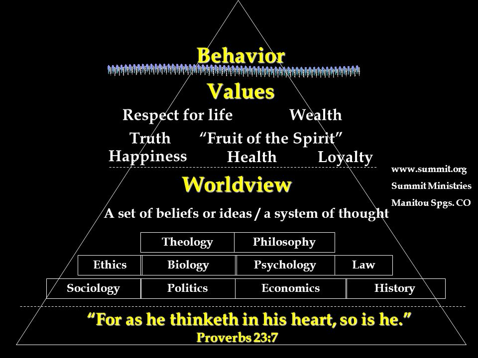 Values Values Respect for lifeWealth Truth Fruit of the Spirit Happiness HealthLoyalty Worldview A set of beliefs or ideas / a system of thought EthicsBiologyPsychology PhilosophyTheology PoliticsEconomicsHistory Law Sociology For as he thinketh in his heart, so is he. Proverbs 23:7 For as he thinketh in his heart, so is he. Proverbs 23:7Behavior www.summit.org Summit Ministries Manitou Spgs.