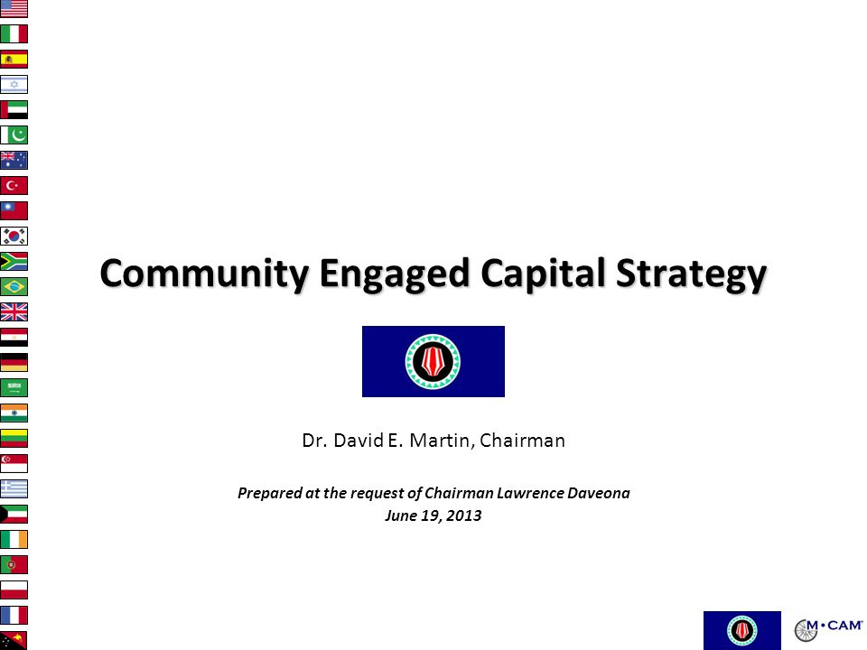 Community Engaged Capital Strategy Dr.David E.